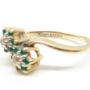 Vintage Jewelry - ❌SOLD❌ 14k Yellow Gold Emerald & Diamond Ring